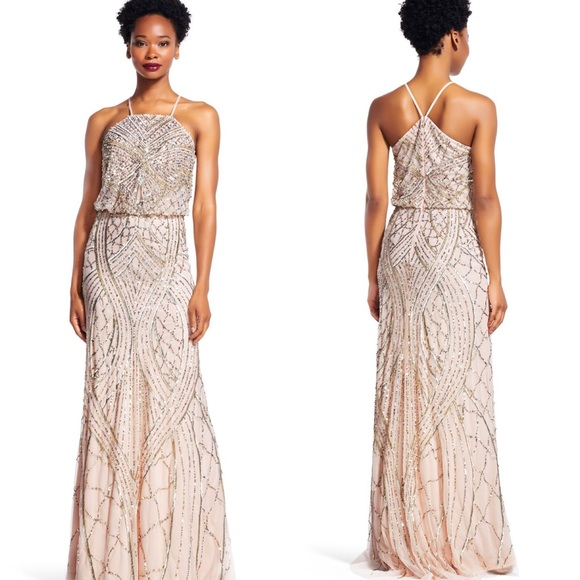 f05364a56a5f Adrianna Papell Dresses | Beaded Blouson Halter Gown | Poshmark